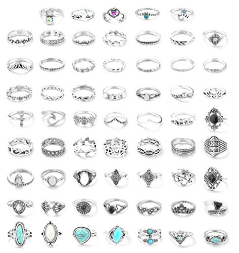FUNRUN JEWELRY 61PCS Knuckle Ring Set for Women Opal Turquoise Joint Stackable Midi Finger Ring Bohemian Retro Vintage Jewelry