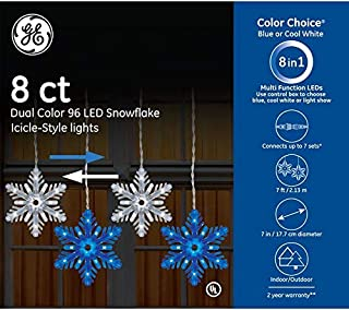 GE Color Choice 96-Count Multi-Function Color Changing Snowflake Led Plug-in Christmas Icicle Lights