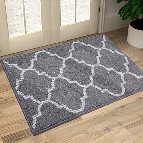 OLANLY Indoor Doormat, 24x36, Non-Slip Absorbent Resist Dirt Entrance Rug, Machine Washable Low-Profile Inside Floor Mat Area Rug for Entryway, Grey Trellis
