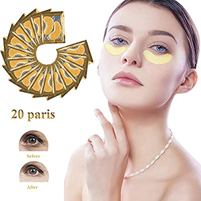 Eye Treatment Mask, 24K Gold Collagen Eye Treatment Mask, Collagen & Anti-Aging Hyaluronic Acid Under Eye Pads Eye Mask for Dark Circles, Eye Puffiness and Wrinkles (Golden)