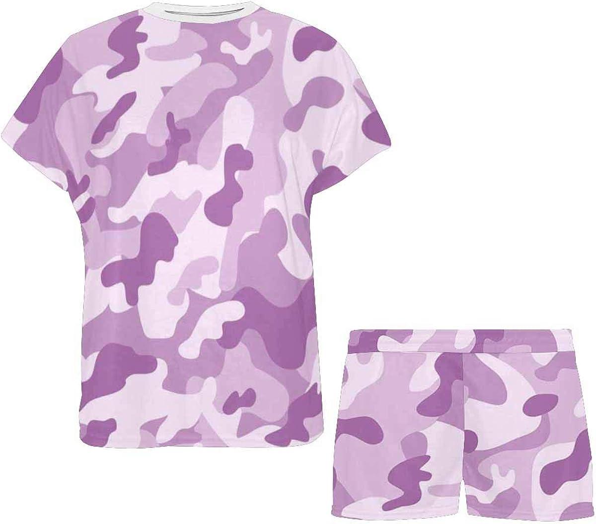 INTERESTPRINT Light Violet Colorful Camouflage Women's Lightweight Pajama Set, Short Summer Pjs