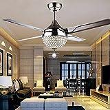 """44"""" techo de cristal de la luz del ventilador con control remoto 4 de acero inoxidable Hojas 3-Color oscurecimiento de luz Modern Lámparas de iluminación pendiente, dormitorio, sala de estar, comedor"""