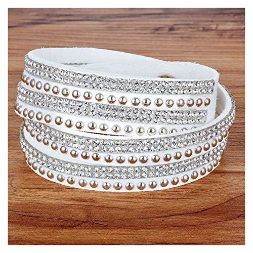 Moonlight Star Pulsera de Cuero PU para Hombres/Mujeres Pulsera Nuevo diseño Rhinestone Doble Capa Negro/Blanco Color Unisex Accesorios de joyería (Metal Color : White)