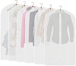 ETERNLEAF Garment Bags Clear 24'' x 43'' Suit Bags (Pack of 6) Garment Covers with Full Zipper for Closet Storage and Travel [Upgraded]