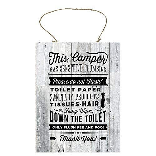 Promini Hanging Wooden Plaque,This Camper Has Sensitive Plumbing Bathroom Rules Printed Handmade Wood Sign,Funny Kitchen Handmade Wooden Sign,Best Decoration for Room,Door,Garden.