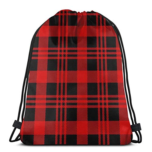 Osmykqe Drawstring Bags Lumberjack Seamless Pattern Vector Background Water Resistant Travel Day Bag for Men Women Kids Outdoor Camping
