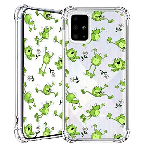 Samsung A71 Hülle, Frosch Muster klares Design Transparente Kunststoff Weiche Handyhülle mit TPU-Stoßfänger-Schutzhülle für Samsung A71