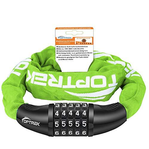 toptrek – Candado para bicicleta con números de 5 dígitos, cadena de acero, 6 mm x 900 mm, candado con combinación numérica, candado para bicicleta (verde)