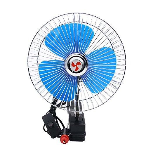 lzndeal 8 Pouces 12V Clip-on Voiture Ventilateur Mini véhicule Refroidisseur fenêtre Tableau de Bord oscillant Ventilateurs de Refroidissement