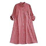 VEMOW Herbst Frühling Sommer Elegante Damen Frauen Stehkragen Langarm Casual Täglichen Party Strand Urlaub Lose Tunika Tops T-Shirt Bluse(Y2-b-Rot, 44 DE/XL CN)