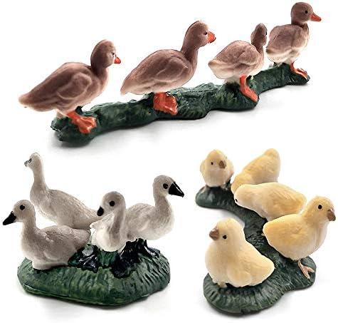 Kimkoala Farm Animals Decorative Figurines 3 Pcs Simulation Mini Cute Chicken Duck Goose Figures product image