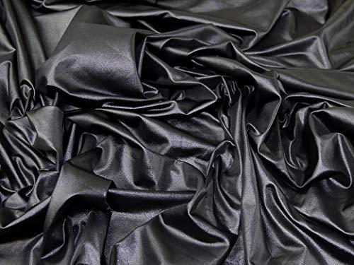 Minerva Crafts Jersey-Stoff, Wet-Look, Meterware, Schwarz