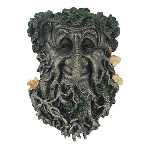 LGYKUMEG Alte Mann Baum Gesichtskulptur, Garten Dekoration Baum Gesichter Dekor Ornament Outdoor Green Man Kopf Pflanzer Yard Kunst für Gnomes Geschenke für Gärtner Männer,Grün