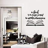 HGFDHG Libro Abierto Cita Tatuajes de Pared Biblioteca librería Aula niños Dormitorio decoración Interior del hogar Arte Vinilo Pegatinas de Pared Mural