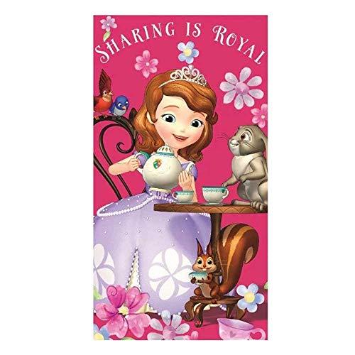 Le fantasie di casa Toalla Princesa Sofía Rosa 35x65 de algodón para la escuela y el deporte.