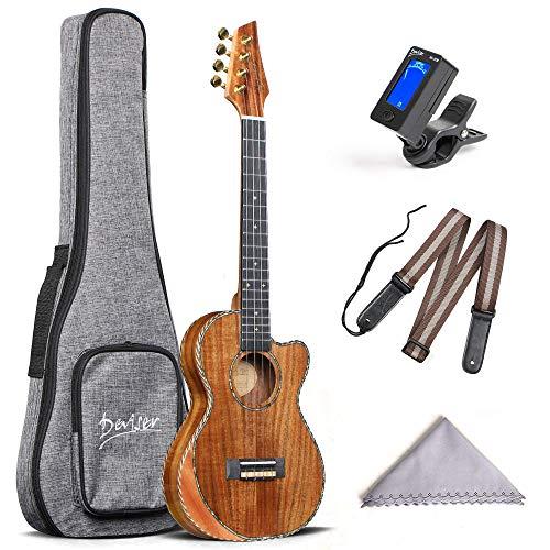 Deviser Tenor Ukulele 26inch Cutaway Thin Body Travel Ukelele kit Solid KOA Top KOA Back & Side Carbon Ukulele Strings With Gig Bag & Tuner & Strap & Polishing Cloth …