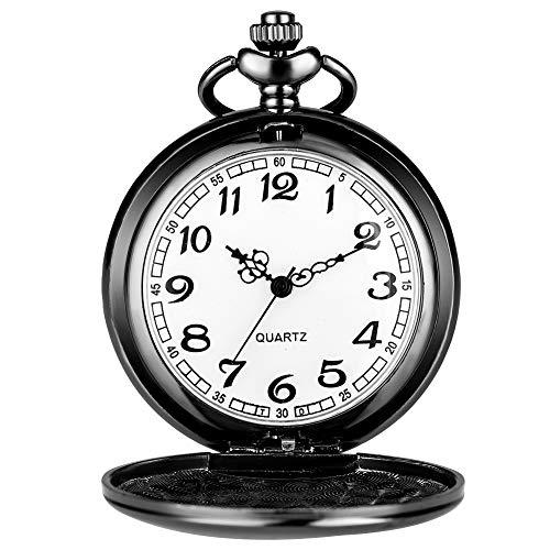 SSJIA Hombre Presente Reloj de Bolsillo Valiente Soldado de la Segunda Guerra Mundial un Ritmo Firme número Blanco Esfera Grande Reloj de Cuarzo colección Hombres-2