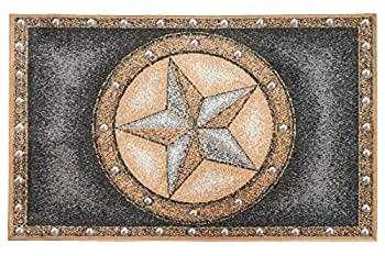 Furnish My Place Texas Star Rug - 3 ft 5 in x 5 ft 6 in Grey Rustic Novelty Lone Star Rug with Border Jute Backing
