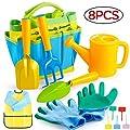 Gimars Sturdy Metal Kids Gardening Tools Gift for Toddler 8 PCS Kids Garden Set Including Watering Can, Shovel, Trowel, Gardening Gloves, Rake, Kids Smock, Garden Placard All in One Garden Tote Bag