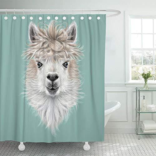 JOOCAR Design Duschvorhang, Amerika Llama, Tierporträt von Alpaka auf Blau, niedlich, wasserdichter Stoff, Badezimmerdekor-Set mit Haken