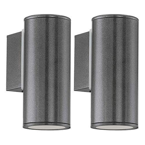 2 Pack - Anthracite LED Outdoor Modern Down Cylindrical Spot Wall Light | 1 x 3W LED GU10 Lamp Bulb Included 240 Lumen | IP44 Exterior Rated | Garden & Patio