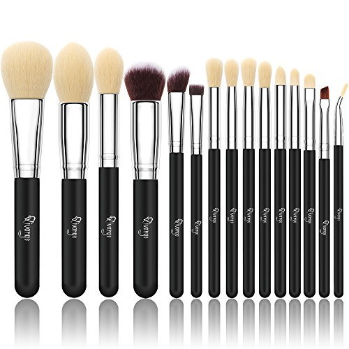 Qivange 15 stück Makeup Pinselset synthetisches Kosmetik Pinsel Set Foundation Lidschatten Pulver...