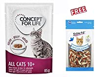 Concept for Life All Cats 10+ – in Jelly 12 x 85g Helps your pet to stay healthy and lively: With a special mix of nutrients, vitamins and essential fatty acids, it can help to reduce the effects of aging. It provides your cat with just the right amo...