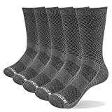 YUEDGE Men's Cotton Cushion Crew Socks 5 Pairs/Pack Performance Athletic Sports Work Training Socks(Grey, Size 9-11)