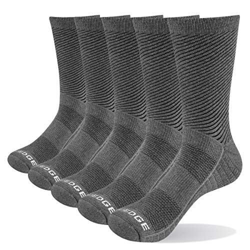 YUEDGE Men's Comfortable Cotton Cushion Crew Work Boot Socks 5 Pairs/Pack Thick Winter Sports Athletic Walking Hiking Socks(Grey, Size 9-12)