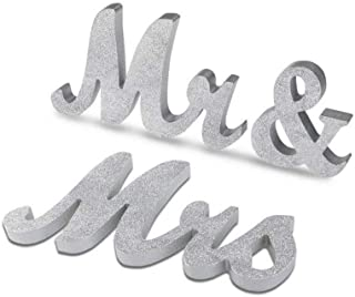 Marsheepy Mr and Mrs Signs Wedding Sweetheart Table Decorations, Wooden Freestanding Letters Wedding Shower Gift (Silver)