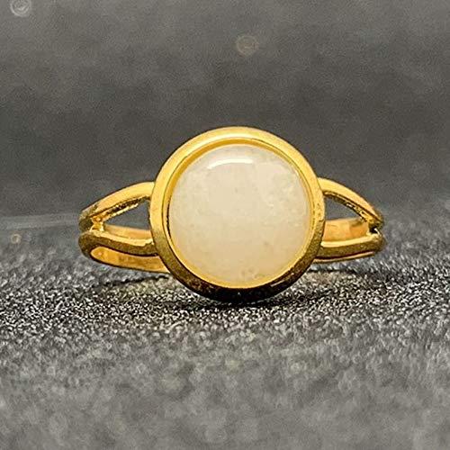 BNFG Ringe Offener Damen,Damen Verstellbar Offene Ringe Weiß Jade Stein Mosaik Gold Ring Mode Engagement Ewigkeit Schmuck Geschenk Für Frauen Mädchen