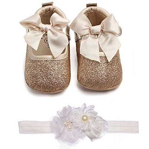 Lidiano Baby Girls Bowknot Sequins Bling Anti-Slip Mary Jane Flat Crib Shoes & Headband (12-18 Months, Gold)