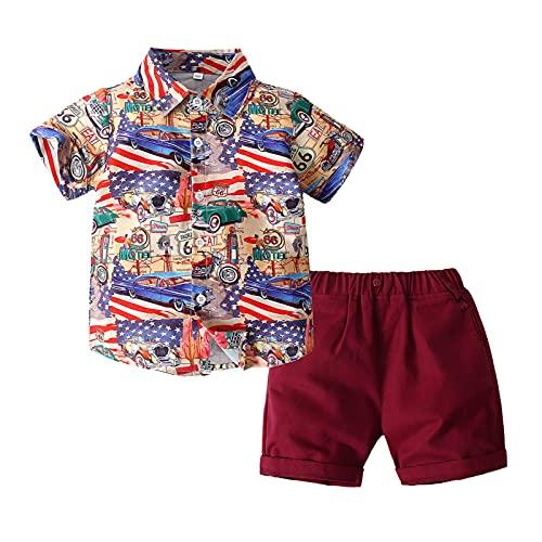 Ropa de verano para niños pequeños con estampado de bandera americana en pulgadas, camisa de pantalones cortos casuales