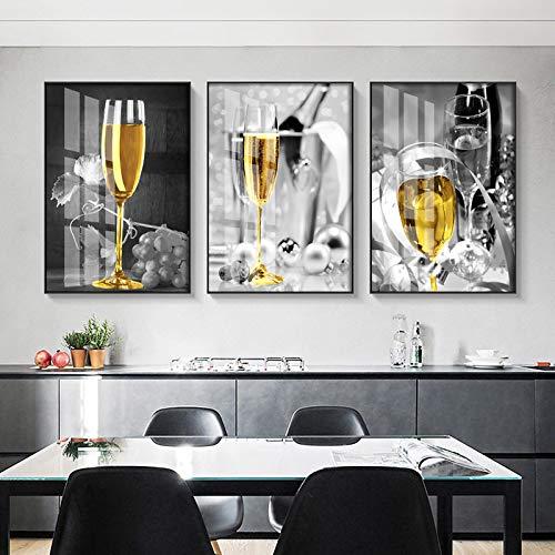 NFXOC Cuadro de champán Amarillo, Pintura en Lienzo, Arte de Pared, póster de Copa de Vino para Cocina, Sala de Estar, decoración del hogar, 50 x 70 cm, 3 Piezas sin Marco