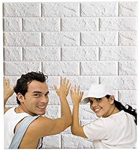 Arthome Papel Pintado 3D Ladrillo, 77cm x 69cm Autoadhesivo Grueso Impermeable Pegatina de Pared Espuma 3d, Paneles Decorativos 3D Piedra para Cuarto de Baño, Sala de Estar y Cocina (10 Pcs)