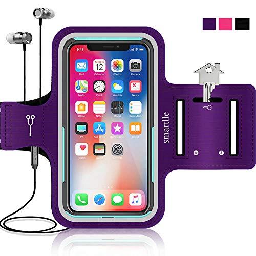 Smartlle Sportarmband für iPhone X XR XS 8 8s 7 7s 6 6s se & Samsung Galaxy S9 S8 S7 S6 Edge. Running, Workout & Joggen Laufen Armband - Handyhalter Case (lila)
