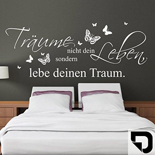 DESIGNSCAPE® Wandtattoo Träume nicht dein Leben, sondern lebe deinen Traum mit Schmetterlingen 60 x 24 cm (Breite x Höhe) schwarz DW801590-S-F4
