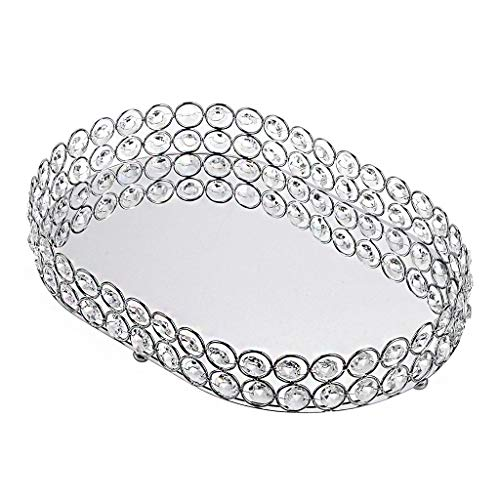 BSTKEY Bandeja de maquillaje de cristal para joyas, organizador de almacenamiento multifuncional con espejo, ovalado plateado
