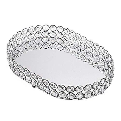 BSTKEY - Vassoio per cosmetici in cristallo, porta gioielli, multifunzione, con specchio, colore: argento ovale