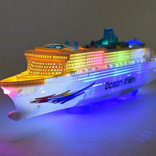 Bebé Modelo de Navegación Eléctrica Crucero Grande Infant Toddler Flash Music Rueda Universal Barco de Juguete de Regalo de Navidad