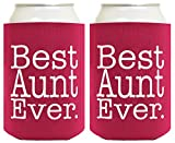 Funny Can Coolie Best Aunt Ever Gift 2 Pack Can Coolies Drink Coolers Magenta