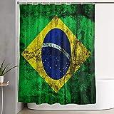 VINISATH Cortinas de Ducha,Fondo Grunge Escuro Brasil Bandeira,Cortina de baño Decorativa para baño,bañera 180 x 180 cm