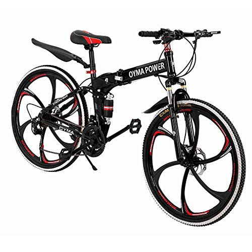 Outroad Mountain Bike (Ship from US) 21 Speed 6-spoke Bicycle 26 in Carbon Steel Bicycle Disc Brake Bicycle Full Suspension Folding Bike for Adult Teens MTB Bikes