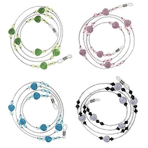 4 perlas de gafas de sol, pulsera de perlas de estrás, cordón para cuello, cadena portacadena para mujer (verde/azul/negro/rosa)