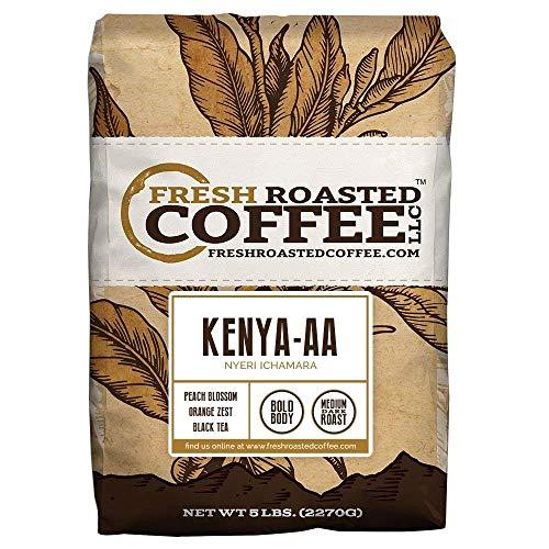 Fresh Roasted Coffee LLC, Kenya AA Nyeri Ichamara Coffee, Light Roast, Whole Bean, 5 Pound Bag