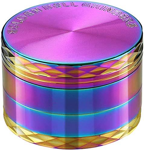 LIHAO Grinder Pollen Crusher Regenbogen Farbe 4-teiliges Set Krautmühle Zinklegierung für Spice, Kräuter, Gewürze, Herb (MEHRWEG)