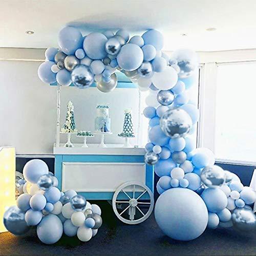 Luftballons Girlande, 141 Stück Macaron Blau Weiß Silber Ballon Arch Kit Dekorationen Set mit Chrom Metallic Silber Ballons Pack für Jungen und Mädchen Babyparty, Hochzeit, Geburtstagsfeier Dekoration