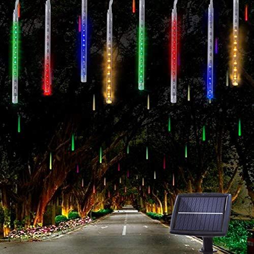 10 Tubes 30CM 360 LED Solaire Météores Pluie Lumières, KEEDA Guirlandes Lumineuses Imperméable Lumiere de Noel Exterieur pour Noël Mariage Parti Jardin D'arbre Décor (Multicolore)