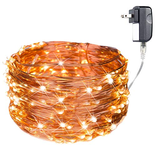 200 LED Fairy Lights Plug in 70FT Starry String Lights Waterproof Copper Wire Lights - UL Adaptor Included, for Indoor Outdoor Christmas Bedroom Patio Wedding Garden Warm White