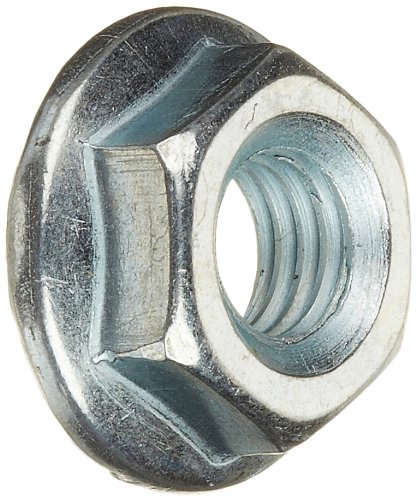 Grade 2 Steel Hex Flange Nut, Zinc Plated Finish, Self-Locking Serrated Flange, ASME B18.2.2, 7/16